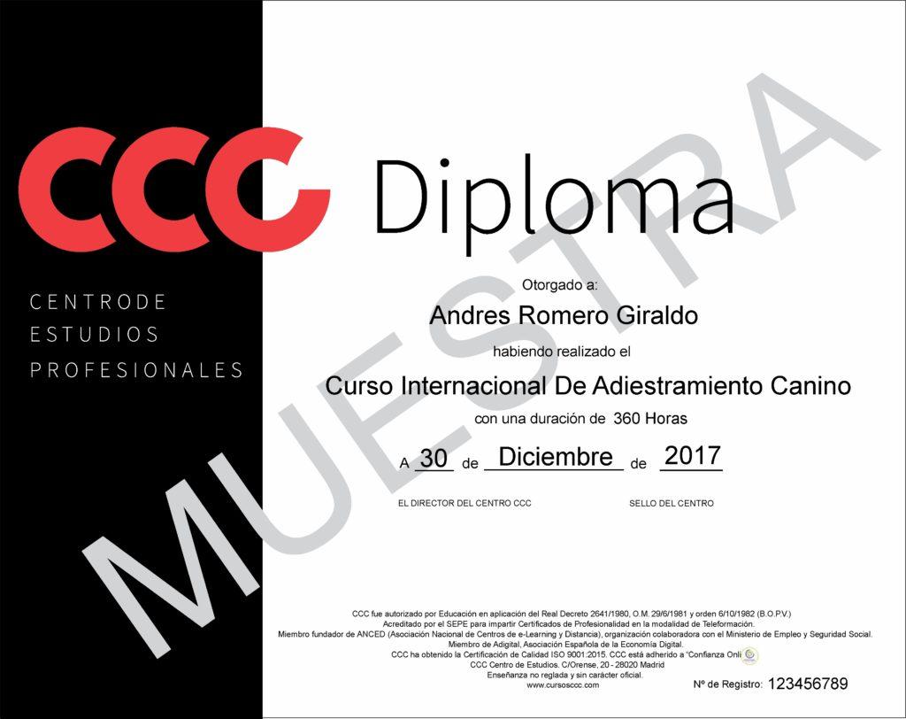 Diploma CCC curso de adiestramiento canino