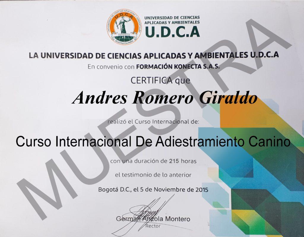Certificado curso de adiestramiento canino udca ccc