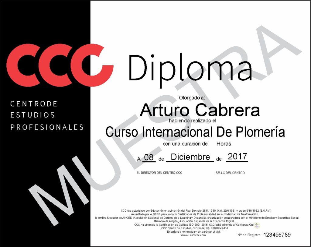 Diploma del curso de plomería de CCC
