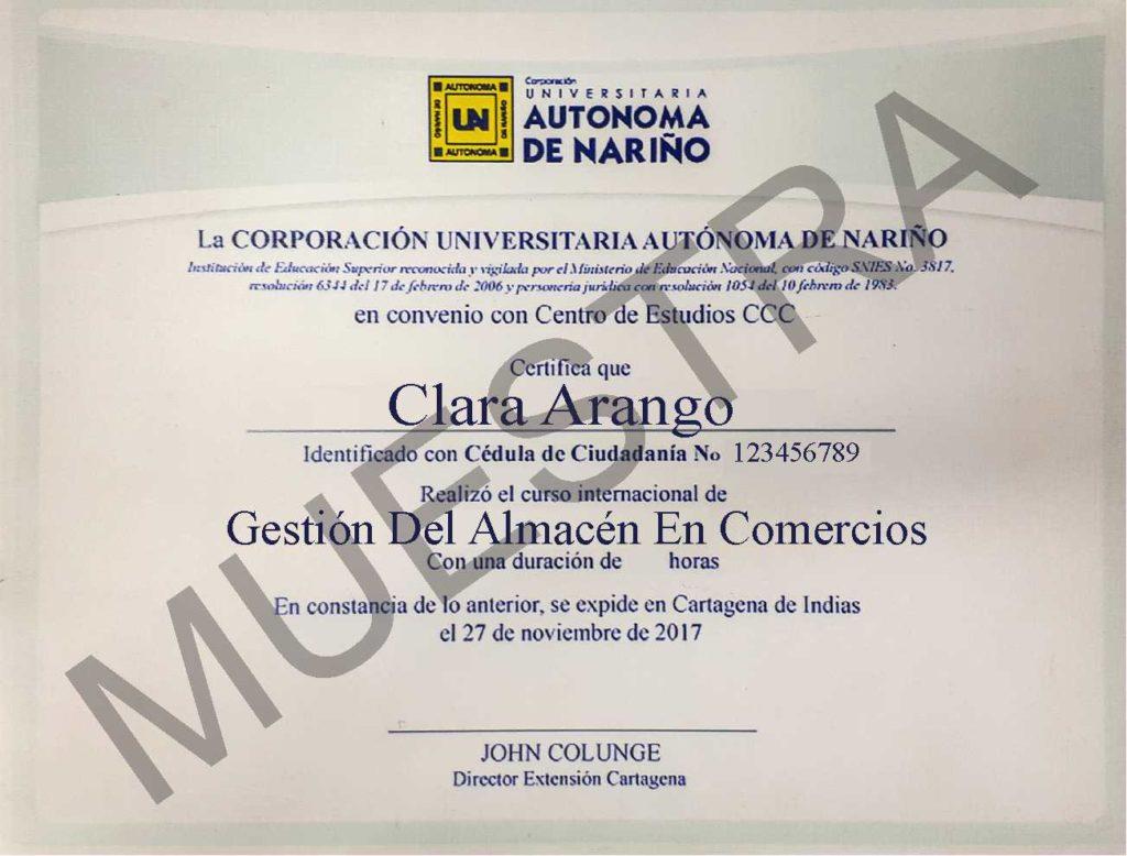 Diploma CCC curso de gestión del almacén en comercios