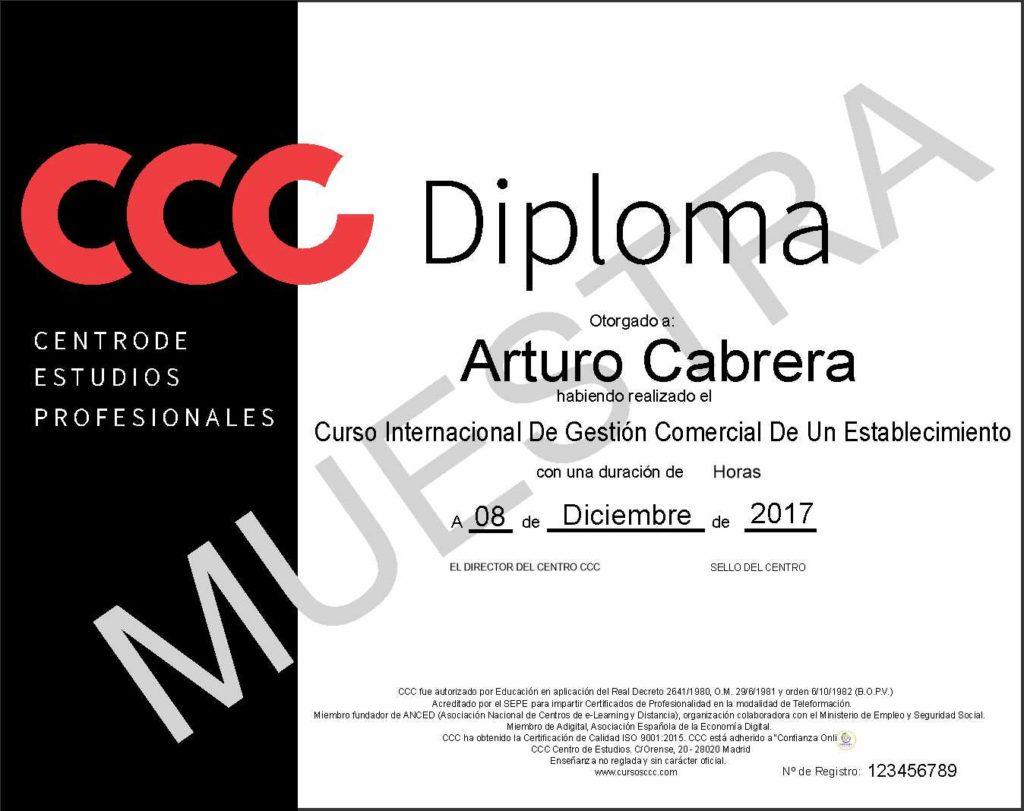 Diploma CCC del curso de gestión comercial de un establecimiento