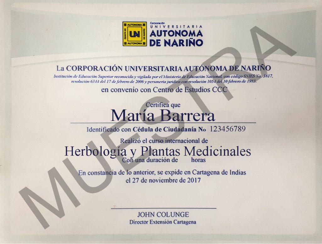 certificado del Curso de herbología y plantas medicinales de ccc