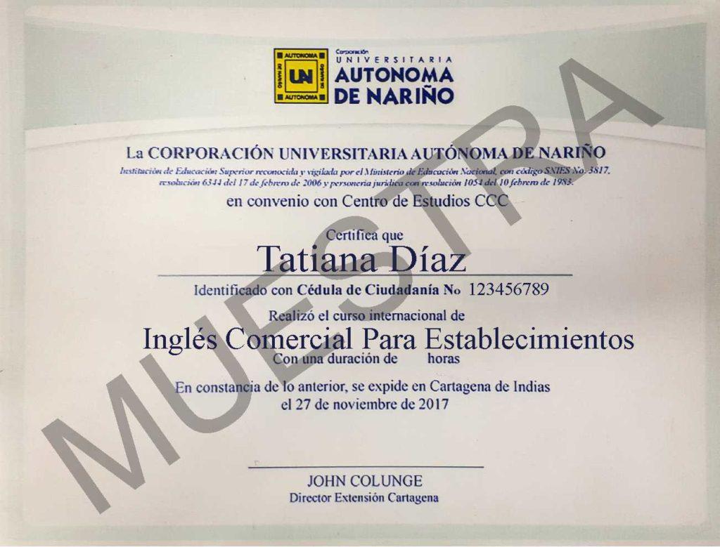 Diploma CCC curso de inglés comercial para establecimientos