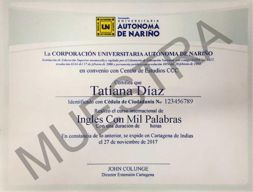 certificado del curso de ingles con mil palabras