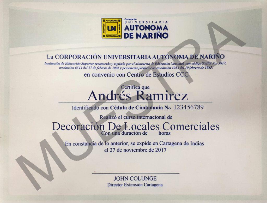 Diploma del curso de decoración de locales comerciales cursos ccc