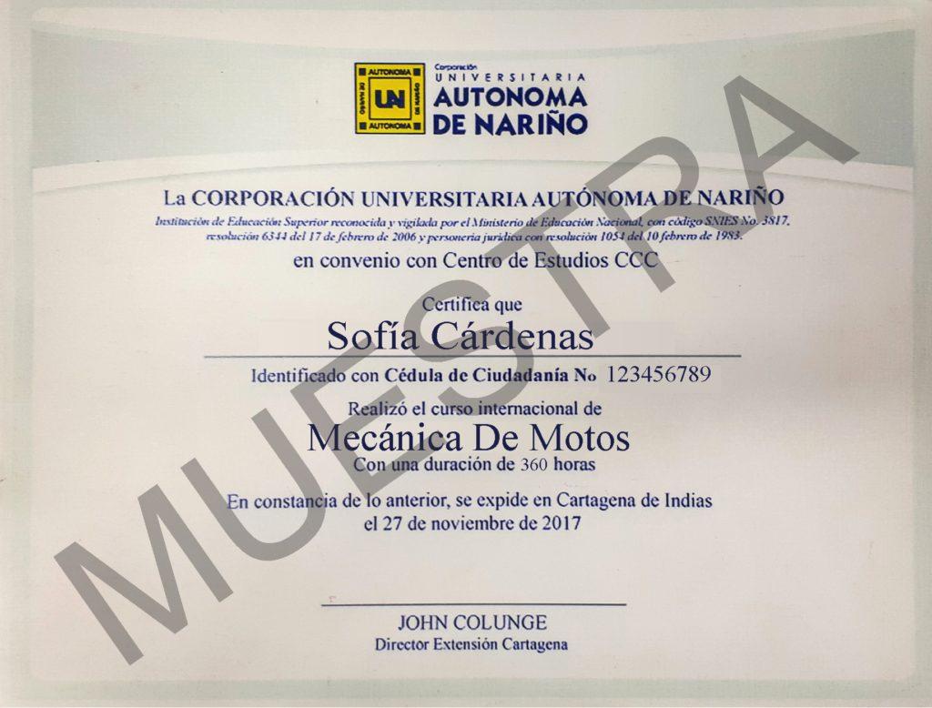 Diploma del curso de mecánica de motos AUNAR