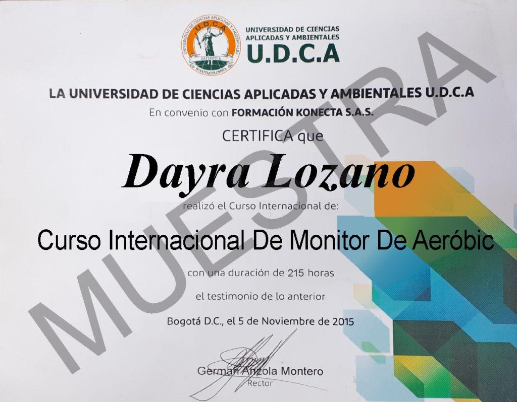 diploma del curso de monitor de aeróbic