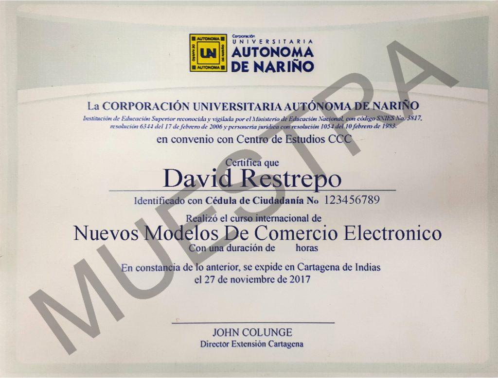 certificado del curso de nuevos modelos de comercio electrónico de cursos ccc