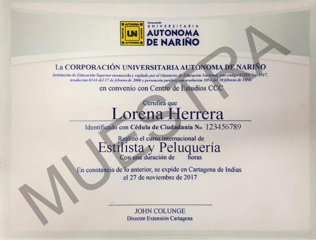 diploma del curso de estilista y peluquería de cursos ccc