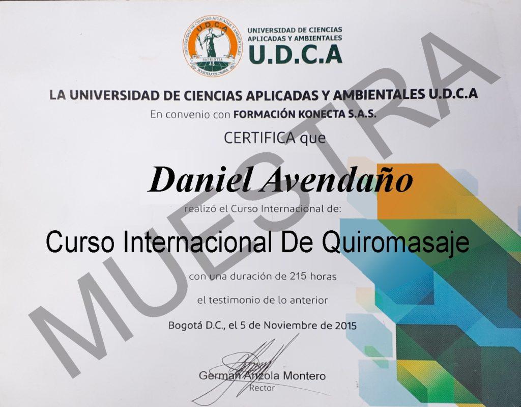 Diploma del curso de Quiromasaje de CCC