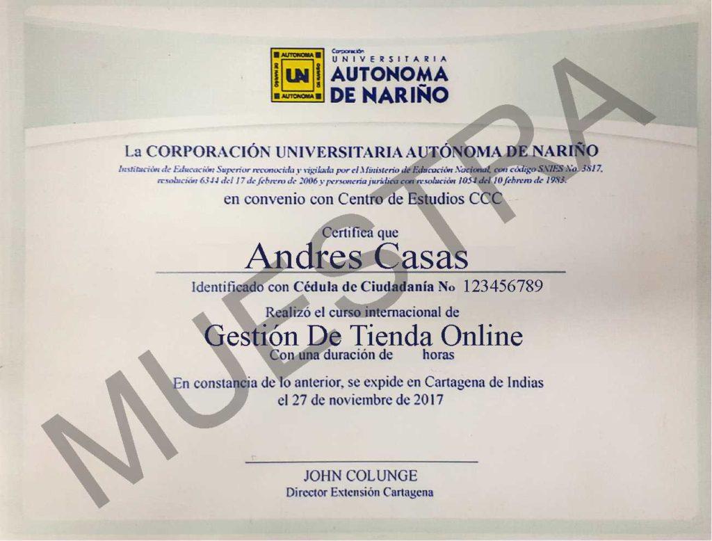 Diploma CCC curso de gestión de tienda online